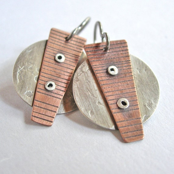 Copper and Silver Spike Earrings with Rivets