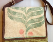 Laptop / Messenger Bag From Coffee Sacks, Green And Brown