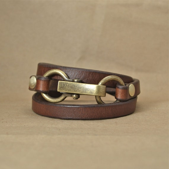 Brown Leather Wrap Bracelet with Clip Closure