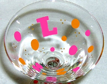 Personalized Martini Glass Polka Dots Hand Painted