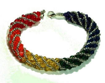 Swarovski Crystal Bracelet, Rainbow, Spiral Bead Weaving