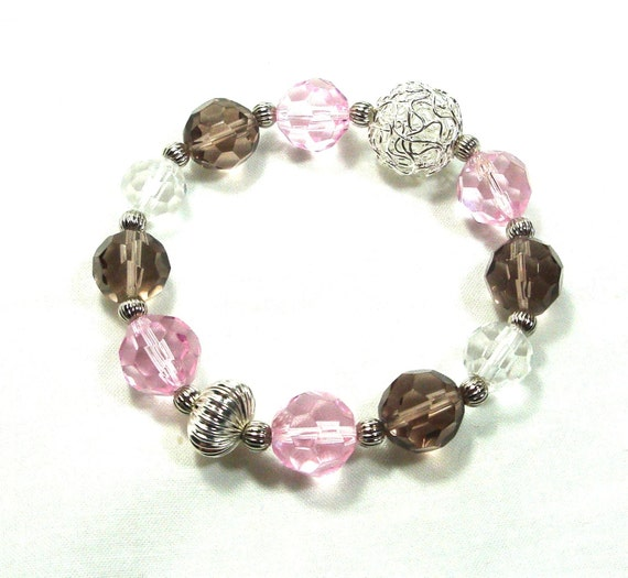 Chunky Stretch Bracelet, Pink, Light Brown & Clear Glass Beads With Silver Filigree