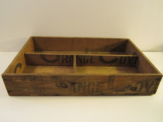 Vintage Divided Wooden Crate Box  Handmade