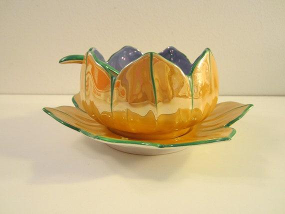 Vintage Noritake Lustreware 3 pc Lotus Bowl