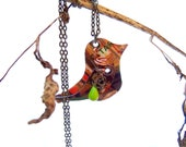 Gift Card Bird Necklace, Recycled Jewelry, Upcycled Eco Friendly