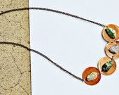 Touched By Nature,Long,Copper,Circle,Stone,Modern Art,Dangle,Bohemian,Necklace