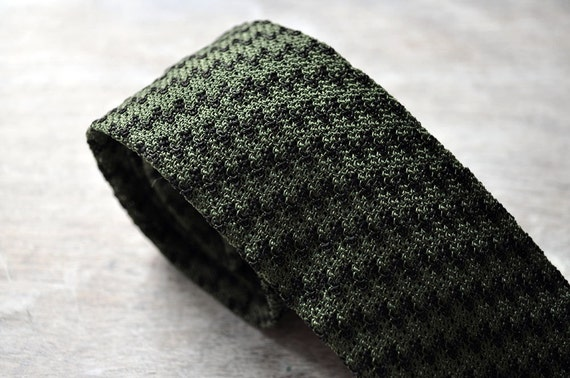 Green and black square end knit tie