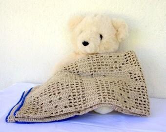 Crochet baby afghan teddy bears brown blue border boy infant crib bedding blanket cover newborn throw sparkle shower gift nursery decor