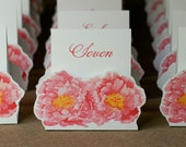 Table Number Tents-Pink Peony - Decoration for Events, Weddings, Showers, Parties