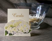 White Hydrangea Cards Sign -  Decoration for Events, Weddings, Showers, Parties