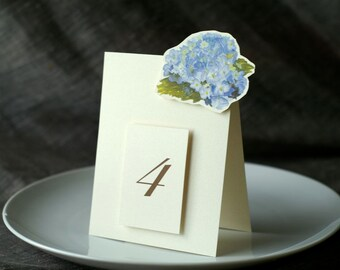 Table Number Tents- Blue Hydrangea - Decoration for Events, Weddings, Showers, Parties