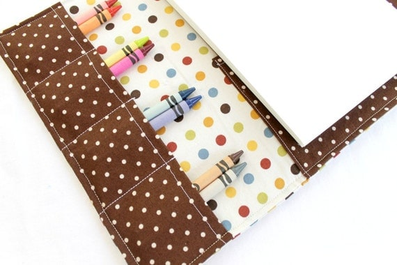 Polka Dot Crayon Drawing Wallet, 6x9 paper, Gender Neutral, with Sticker Pocket