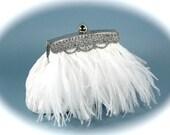 Wedding Clutch, White Bridal Clutch, Ostrich Feather Clutch, Weddings Vintage Style with Rhinestone Trim
