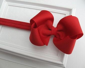 """Red Baby Bow Headband, Christmas Headband, Infant Headband, Red Hair Bow Headband, Newborn Headband, Red Bow Headband, Red Headband 4"""" Bow"""