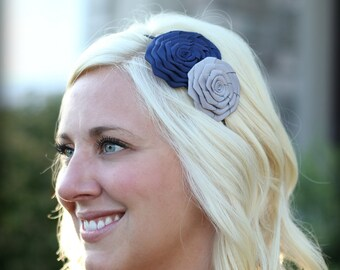 Navy and Silver Headband, Double Folded Rose for Women and Girls