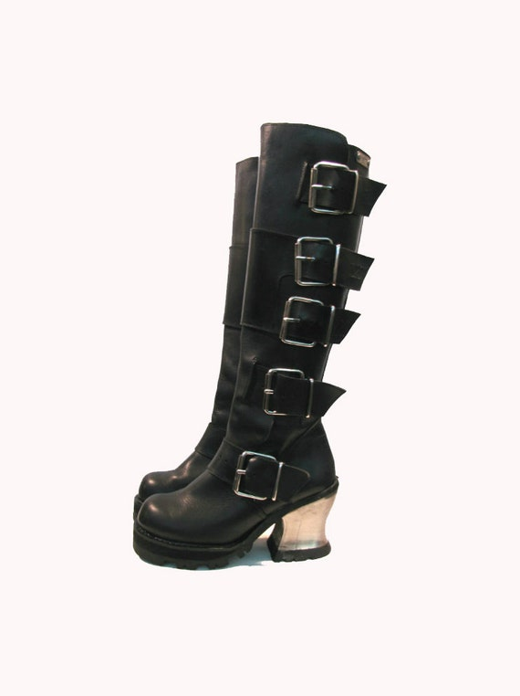 Vintage Black Leather Knee High Steel Heel Buckle Boots from Spain Woman's size 6 Pre-owned.