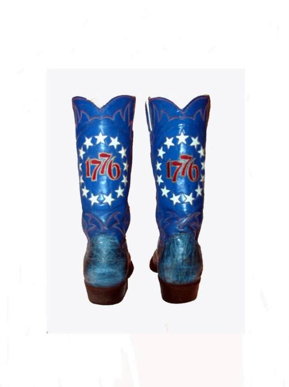 Vintage Men's Justin 1776 Blue Leather Western Cowboy Boots