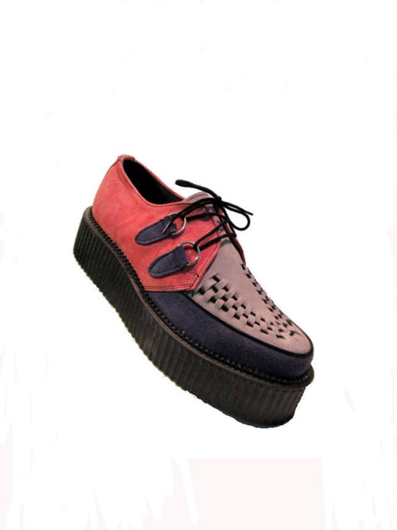 Reserved For HandmadebyMarggie: Vintage Pink/Purple/Gray Suede Lace Front Creepers Wms size 10