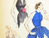 Vintage 50s Blouse Pattern - Vogue 7454 - Vintage 1954 Misses' Halter Bodices - SZ 16/Bust 34