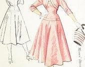 Vintage 1950s Dress Pattern - McCalls 9285 - Misses' Dropped Waist Dress and Jacket - SZ 14/Bust 32