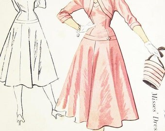 Vintage 1950s Dress Pattern - McCalls 9285 - Misses' Dropped Waist Dress and Jacket - SZ 14/Bust 32