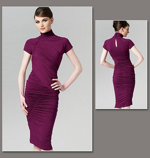 Vogue V1259 DONNA KARAN Two Piece Ruched Dress Pattern Vogue American Designer - Sz 10/12/14/16