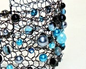 Bold Black and Aqua Turquoise Arm Cuff Big Hand Knit Lace Mesh Jewelry OOAK Contemporary Jewelry