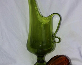 Lime Green Glass Art Pitcher or Candle holder vintage Dual Purpose find