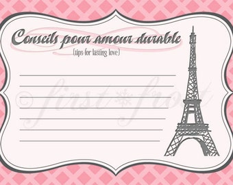 Printable Advice Cards - French Themed Eiffel Tower Paris Party