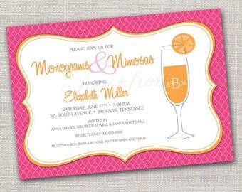 Monogram and Mimosas Printable Invitation - Wedding Bridal Shower Tea Luncheon