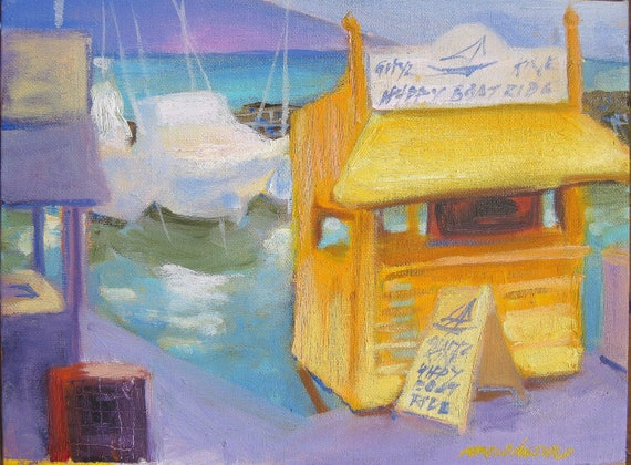Lahaina Boat Harbor Maui painting orignal artwork in oil 9x12