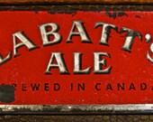 Vintage Reverse Painted Glass LABATT'S ALE Advertising Sign / Beer / Old