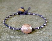 Pearl Braided Bracelet Purple and Dusky Rose- Beach Jewelry