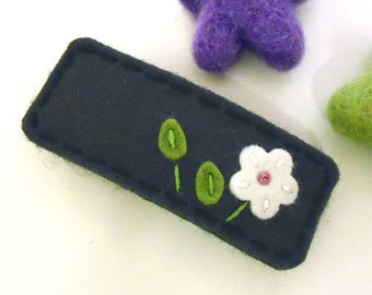 Felt hair barrette, Felt daisy, Back to school, Hair accessories, Felt hair bow, Wool felt, Hair barrettes, Girls gift, Charcoal grey