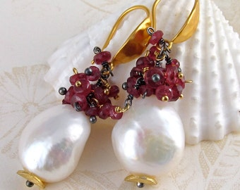Baroque pearl and ruby earrings, handmade 24k vermeil earrings