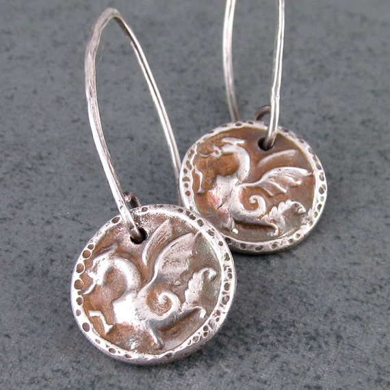 Tiny dragon earrings, handmade recycled fine silver jewelry-OOAK
