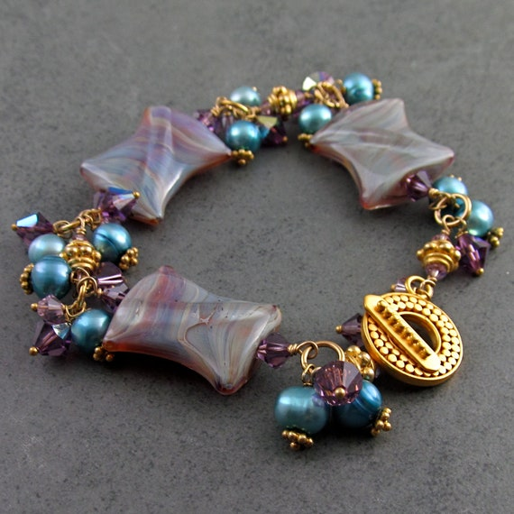 Teal pearl bracelet with boro glass beads, Swarovski crystals and 24k gold vermeil-OOAK