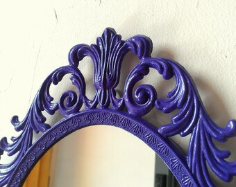 Ornate Purple Princess Mirror in 13 by 10 Inch Vintage Metal Frame, Purple Home Decor