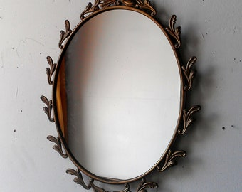 Oval Mirror in Ornate Vintage Metal Italy Frame - 15 x 11 inch