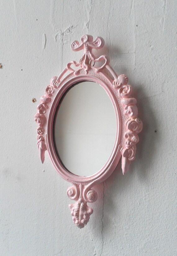 Small Mirror in Vintage Pink Whisper Frame - Revived Vintage