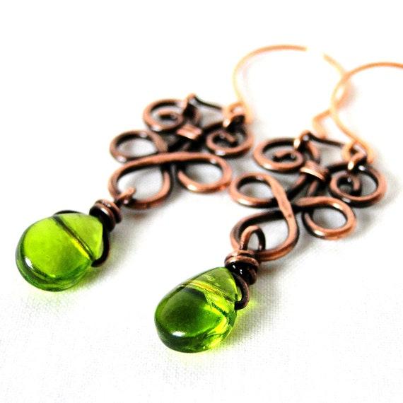 Wire Wrapped Jewelry, Copper Wire, Green Glass Drop Earrings