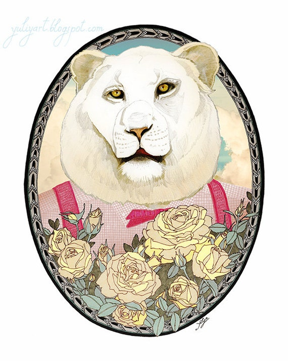 Lion and Roses - lion drawing print animal illustration nursery decor flower drawing baby shower gift wall art pastels pink mint cute cat