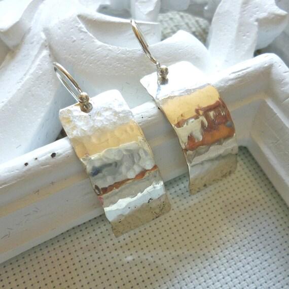 Sterling silver earrings hammered texture earrings