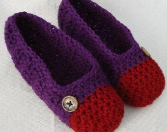 Crochet Slippers Womens Flats Burgundy and Dark Purple