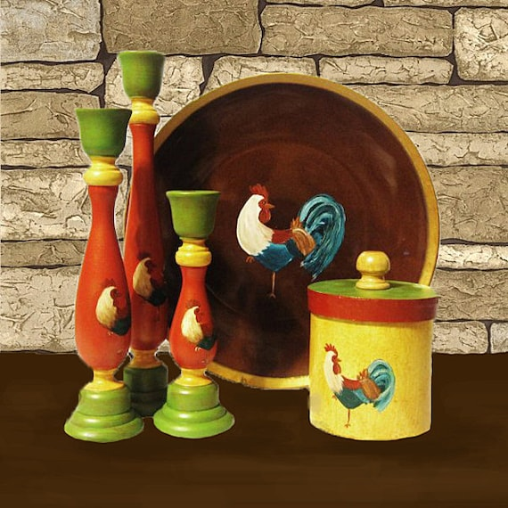 Hand Painted Rooster Decor Set with Free Matching Box
