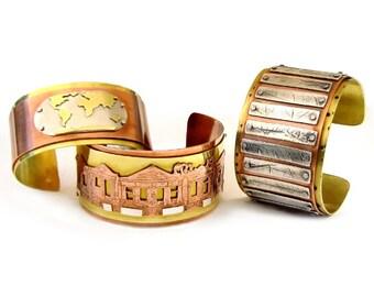 Nature Pressed Rivet Cuff Bracelet