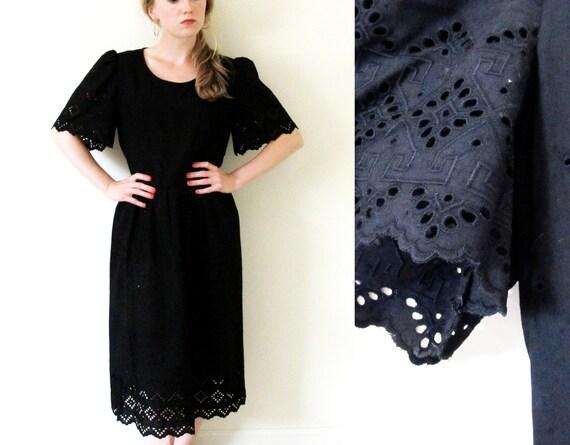 vintage 1980s Dress // Black Eyelet // Summer -- M