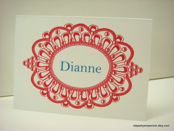 Stationery Gift Set in a Modern Medallion Frame Design Personalized with Name Set of 12 in Gift Box