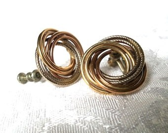 Vintage Gold, Silver & Copper Swirl Screw Back Earrings