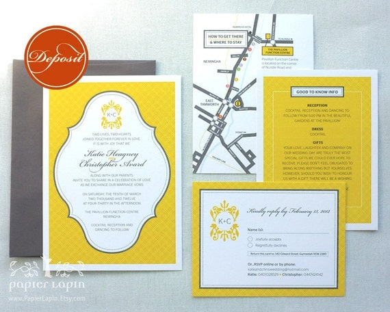Jolly Checker eco-friendly wedding invitation / Monogram / Mix and match, green, blue, yellow, aubergine, affordable